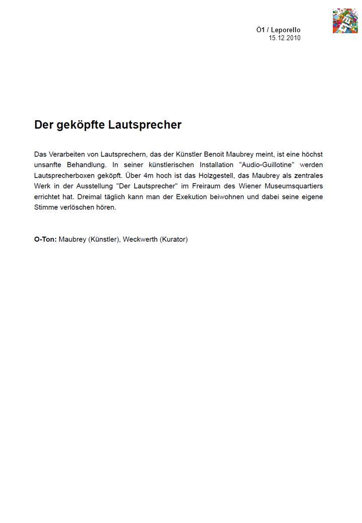 Ö1 / Leporello 15.12.2010