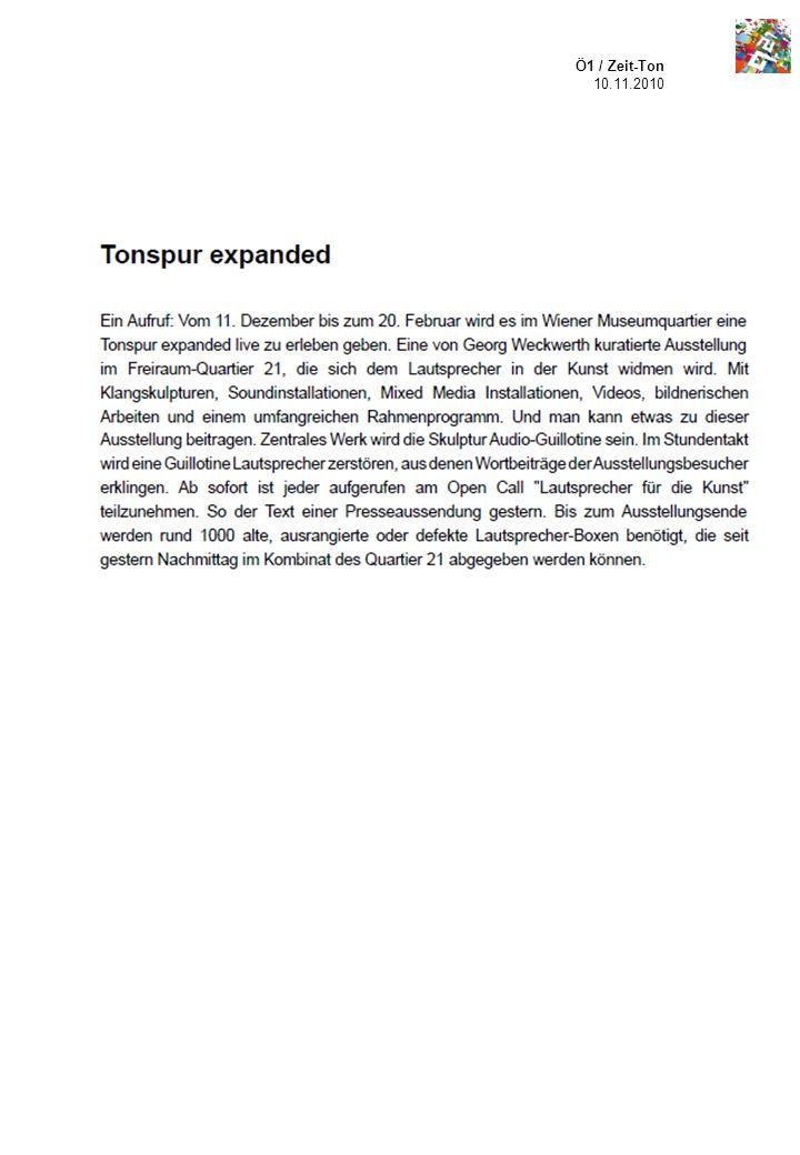 Ö1 / Zeit-Ton 10.11.2010