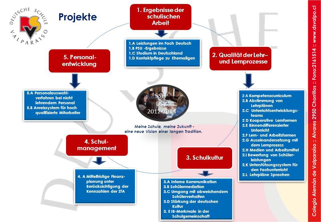 1. Ergebnisse der schulischen Arbeit 2. Qualität der Lehr– und Lernprozesse 3. Schulkultur 4. Schul- management 5. Personal- entwicklung 1.A Leistunge