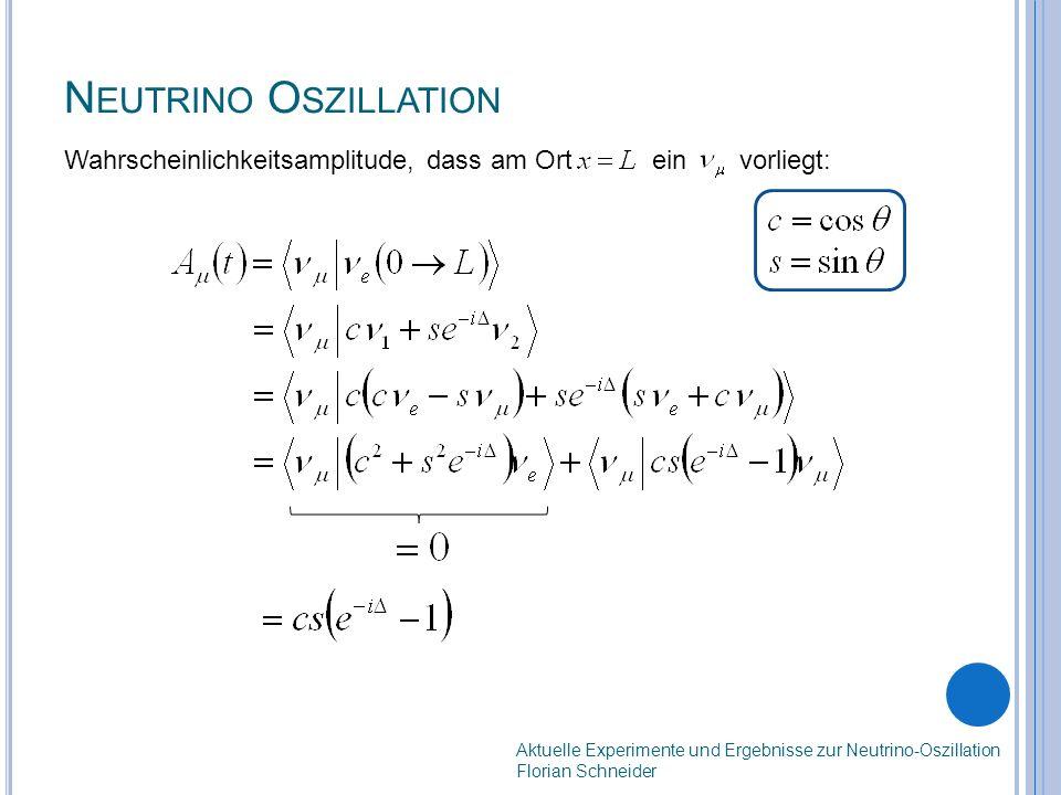 N EUTRINO O SZILLATION Wahrscheinlichkeitsamplitude, dass am Ort ein vorliegt: Aktuelle Experimente und Ergebnisse zur Neutrino-Oszillation Florian Schneider