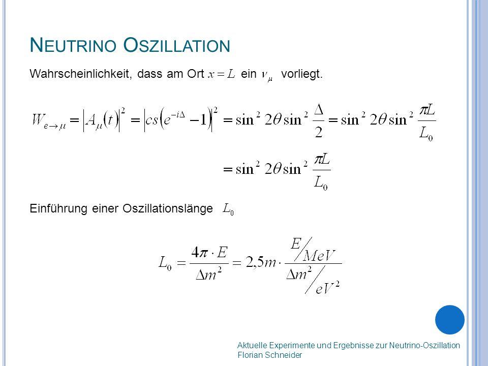 N EUTRINO O SZILLATION Aktuelle Experimente und Ergebnisse zur Neutrino-Oszillation Florian Schneider Wahrscheinlichkeit, dass am Ort ein vorliegt.