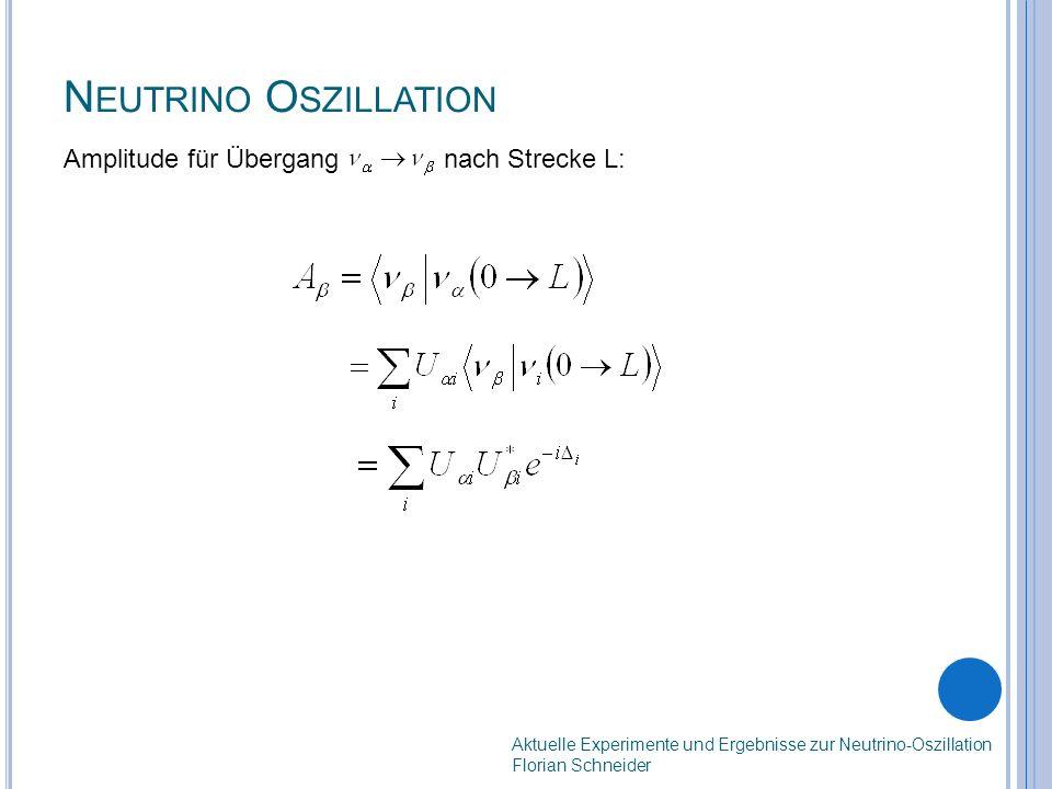 N EUTRINO O SZILLATION Amplitude für Übergang nach Strecke L: Aktuelle Experimente und Ergebnisse zur Neutrino-Oszillation Florian Schneider