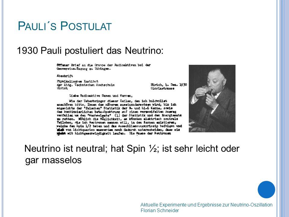 P AULI ´ S P OSTULAT 1930 Pauli postuliert das Neutrino: Neutrino ist neutral; hat Spin ½; ist sehr leicht oder gar masselos Aktuelle Experimente und Ergebnisse zur Neutrino-Oszillation Florian Schneider