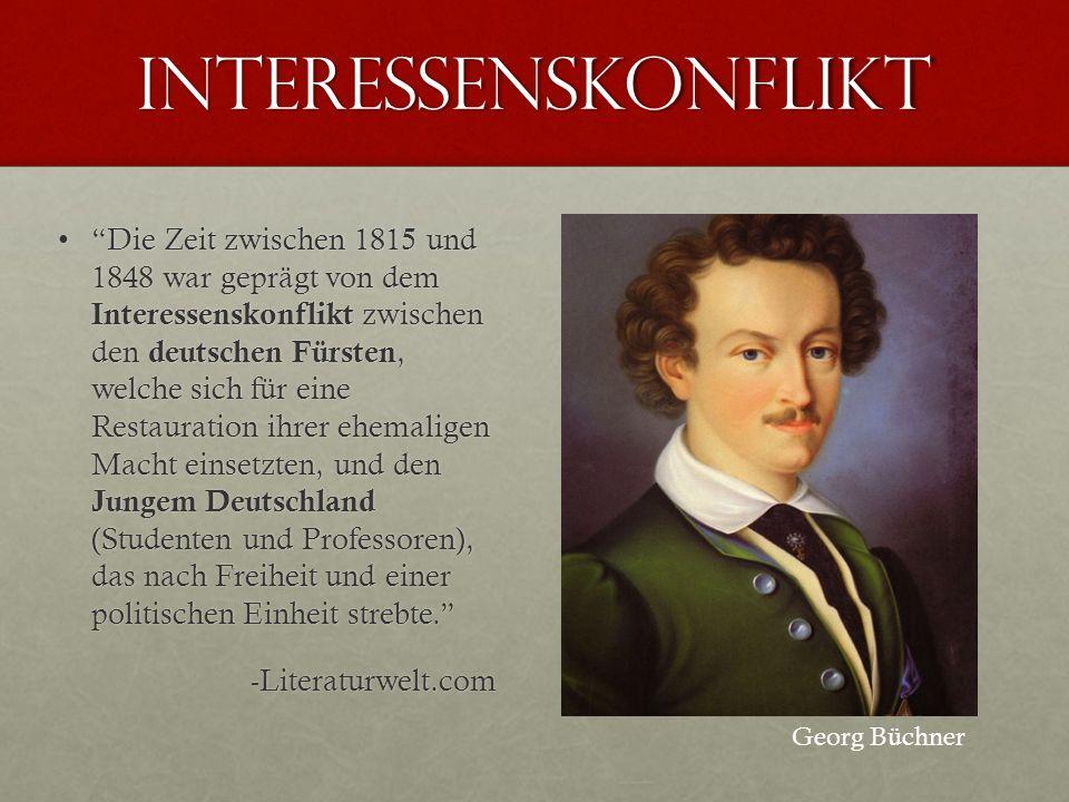 Interessenskonflikt Die Zeit zwischen 1815 und 1848 war geprägt von dem Interessenskonflikt zwischen den deutschen Fürsten, welche sich für eine Resta