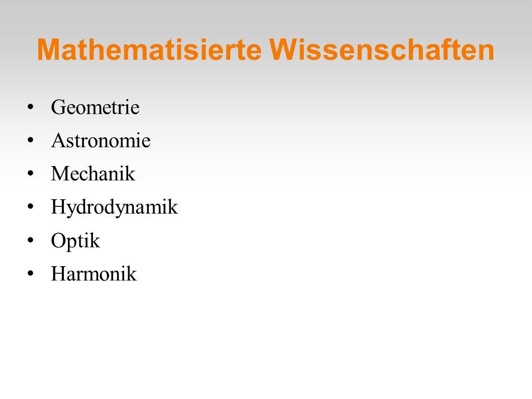 Mathematisierte Wissenschaften Geometrie Astronomie Mechanik Hydrodynamik Optik Harmonik