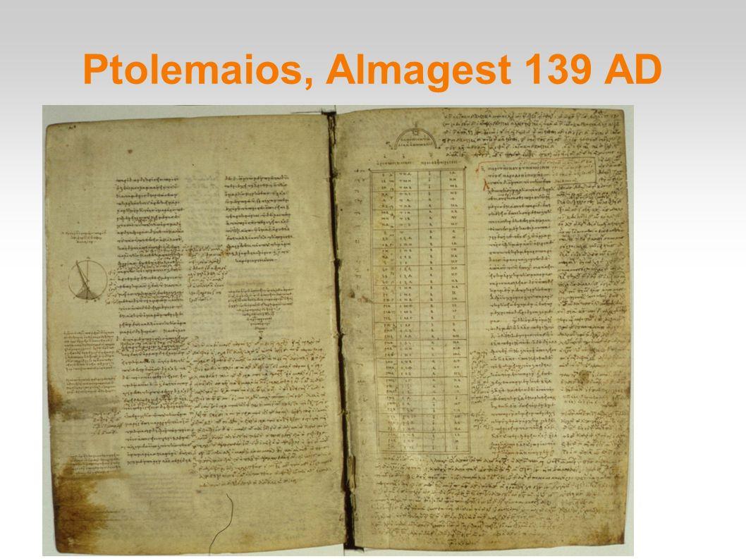 Ptolemaios, Almagest 139 AD