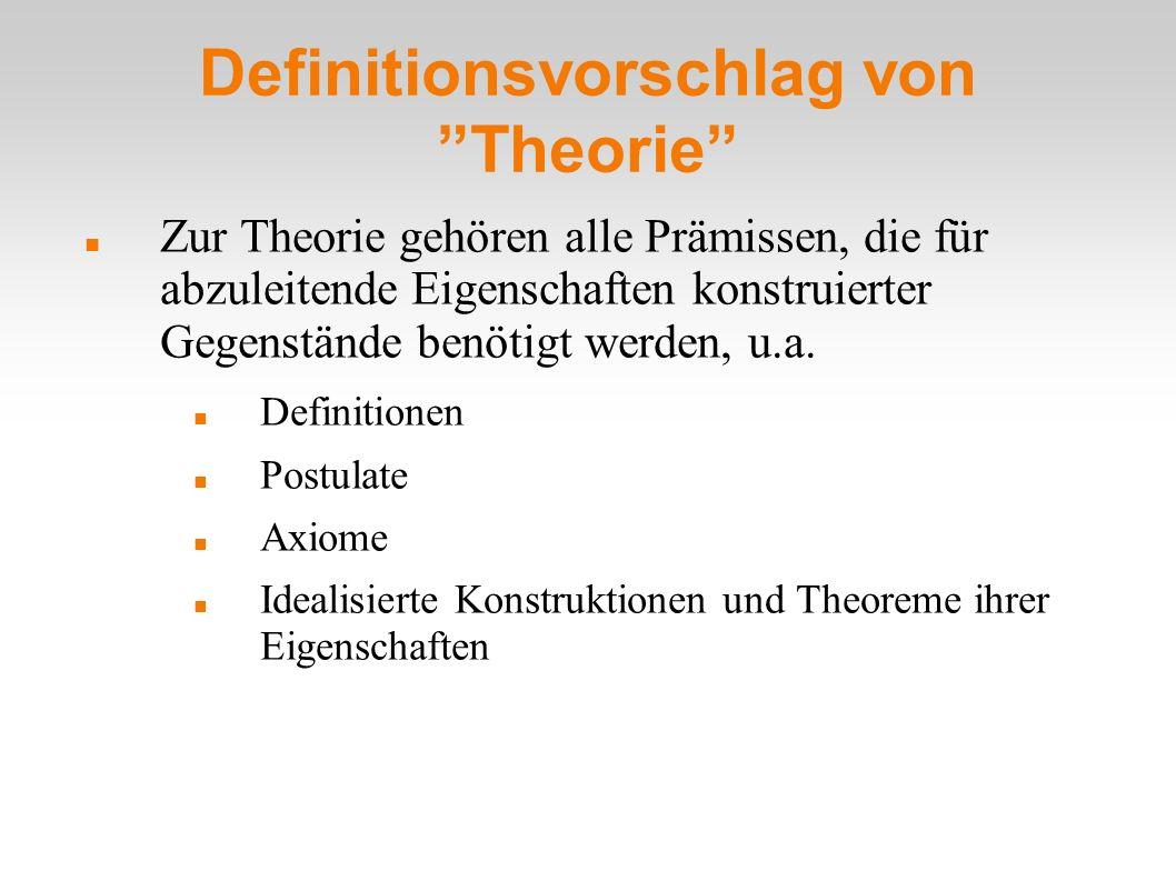 Definitionsvorschlag von Theorie Zur Theorie gehören alle Prämissen, die für abzuleitende Eigenschaften konstruierter Gegenstände benötigt werden, u.a.