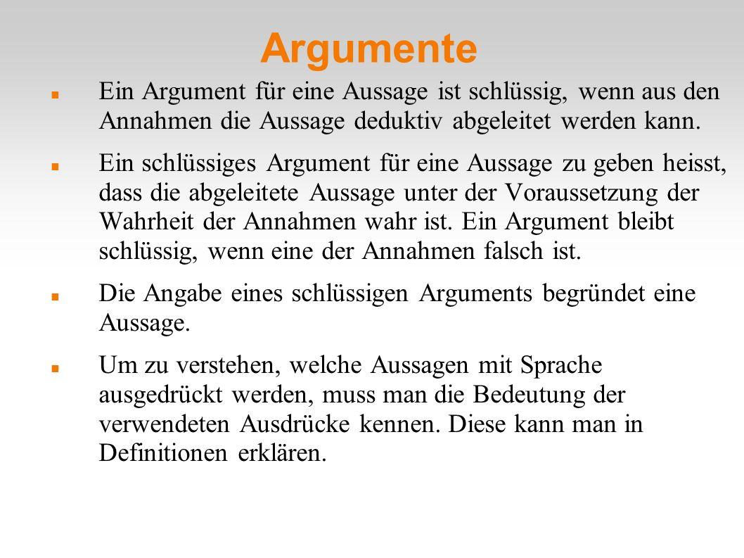 Argumente Ein Argument für eine Aussage ist schlüssig, wenn aus den Annahmen die Aussage deduktiv abgeleitet werden kann. Ein schlüssiges Argument für