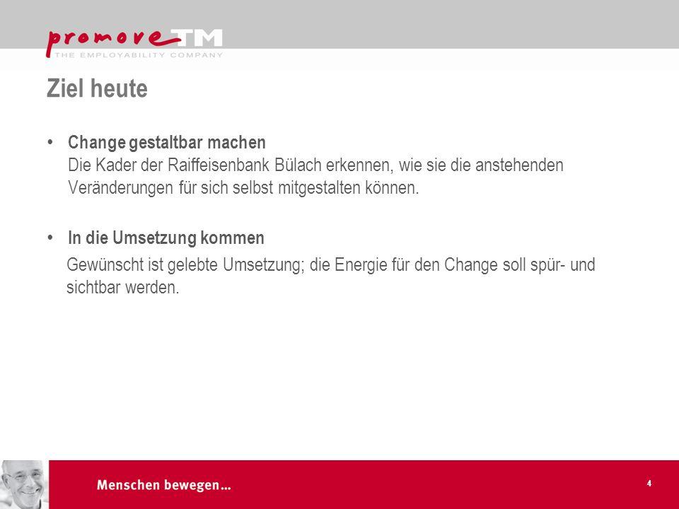 Ziel heute Change gestaltbar machen Die Kader der Raiffeisenbank Bülach erkennen, wie sie die anstehenden Veränderungen für sich selbst mitgestalten k