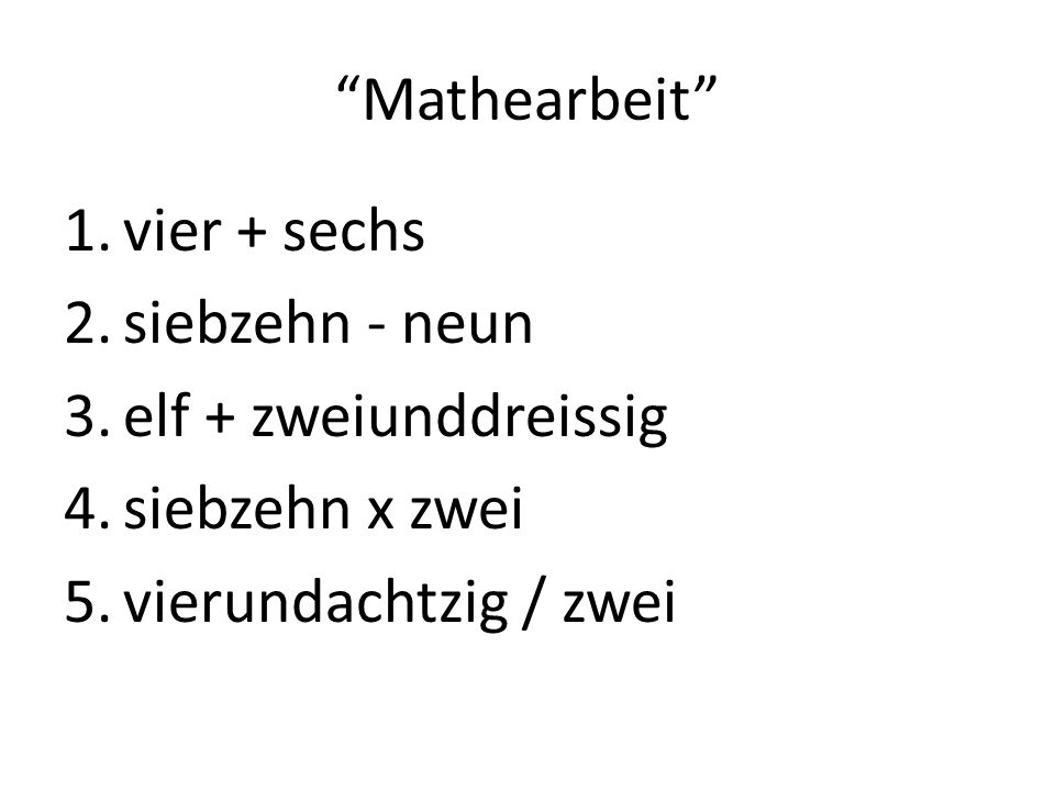 Mathe? + plus - minus x mal /durch