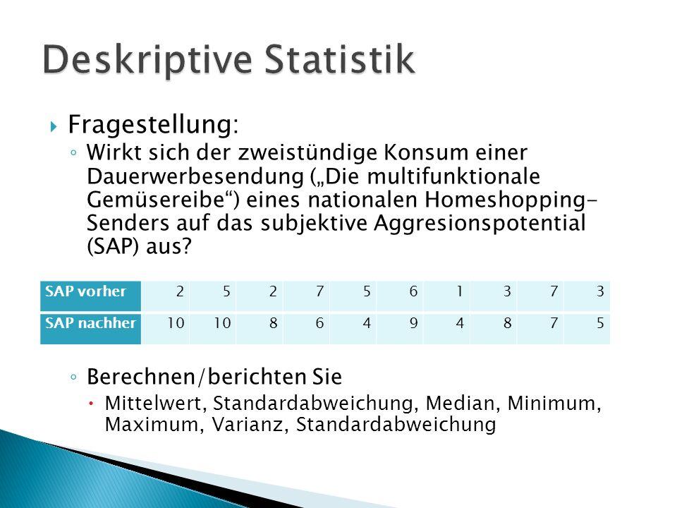 Fragestellung: Wirkt sich der zweistündige Konsum einer Dauerwerbesendung (Die multifunktionale Gemüsereibe) eines nationalen Homeshopping- Senders auf das subjektive Aggresionspotential (SAP) aus.
