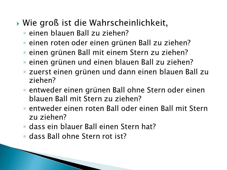 Wie groß ist die Wahrscheinlichkeit, einen blauen Ball zu ziehen.