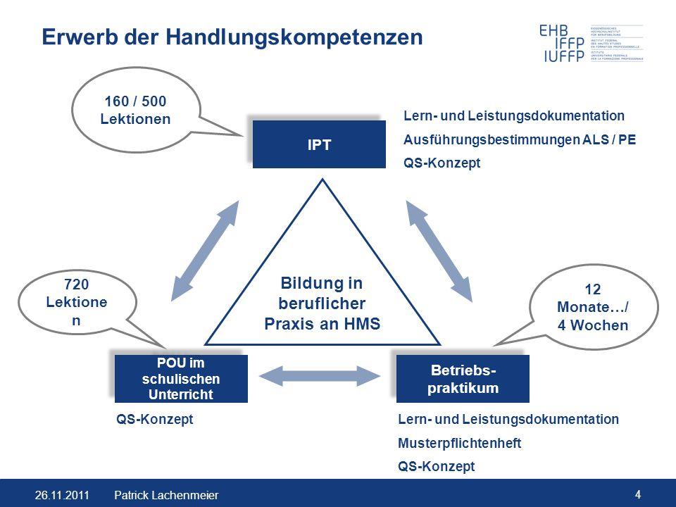 26.11.2011 15 Patrick Lachenmeier Gruppenarbeit Entwickeln Sie Ihre eigenen Ideen zu IPT-Themen.