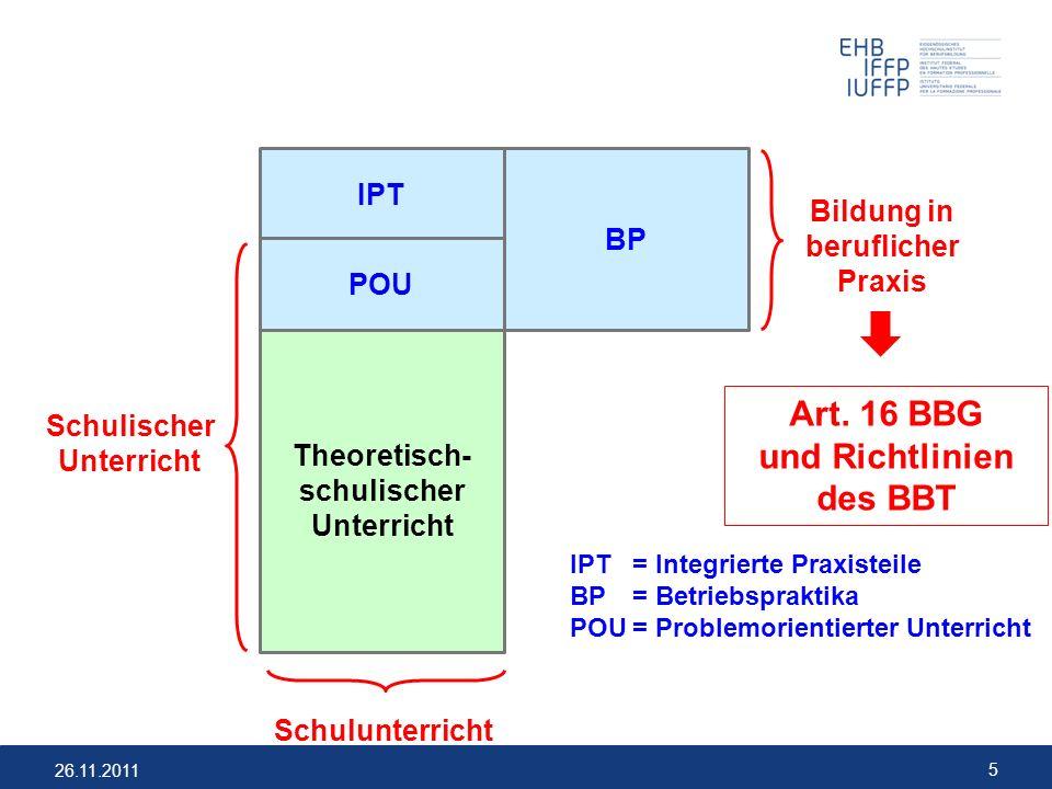 26.11.2011 5 Theoretisch- schulischer Unterricht Schulunterricht Schulischer Unterricht IPT= Integrierte Praxisteile BP= Betriebspraktika POU= Problem