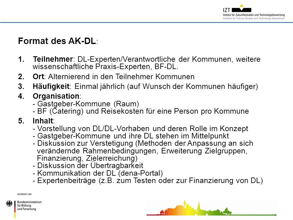 Format des AK-DL : 1.Teilnehmer: DL-Experten/Verantwortliche der Kommunen, weitere wissenschaftliche Praxis-Experten, BF-DL.