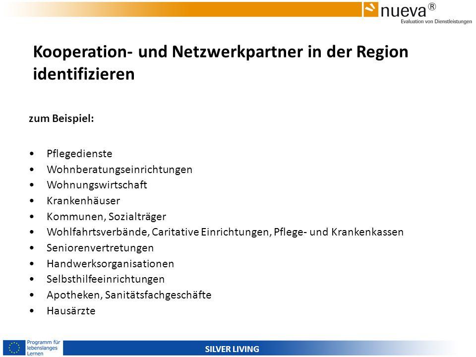 SILVER LIVING Kooperation- und Netzwerkpartner in der Region identifizieren zum Beispiel: Pflegedienste Wohnberatungseinrichtungen Wohnungswirtschaft
