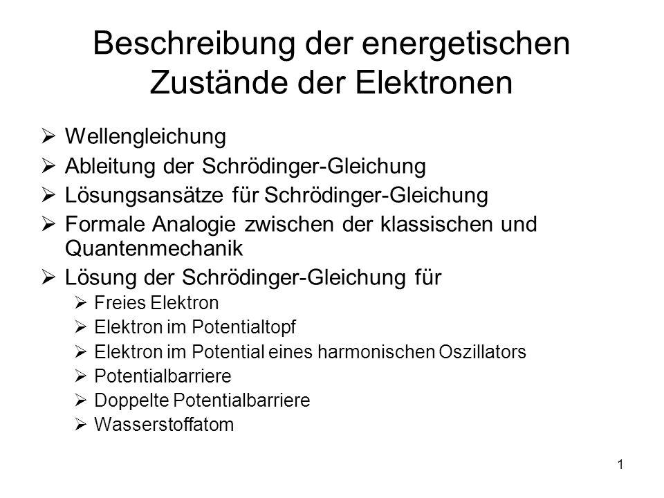 1 Beschreibung der energetischen Zustände der Elektronen Wellengleichung Ableitung der Schrödinger-Gleichung Lösungsansätze für Schrödinger-Gleichung