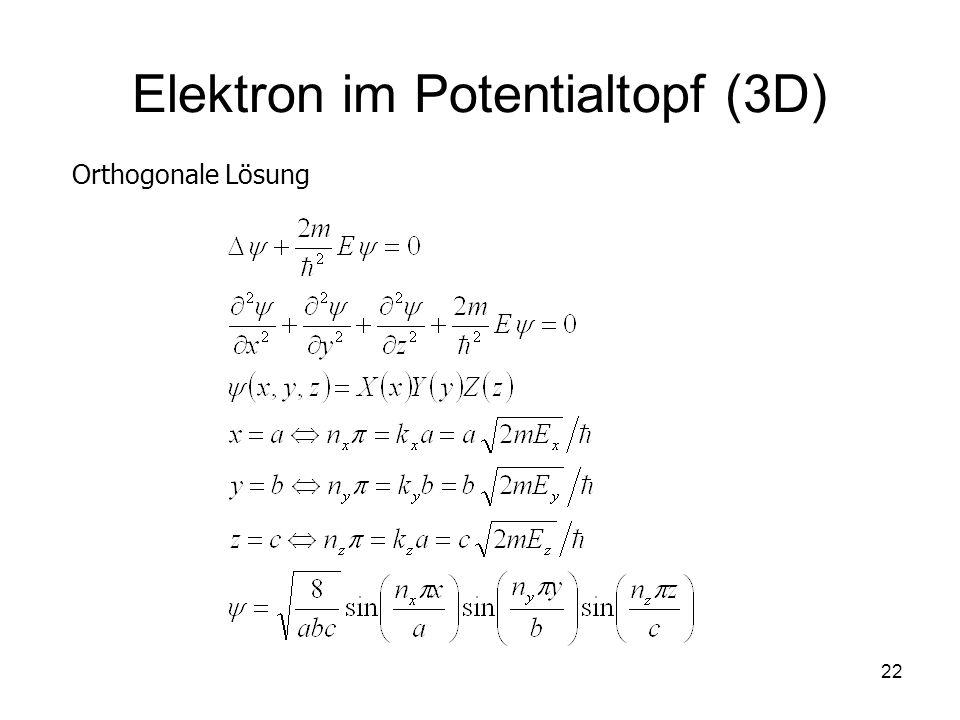 22 Elektron im Potentialtopf (3D) Orthogonale Lösung