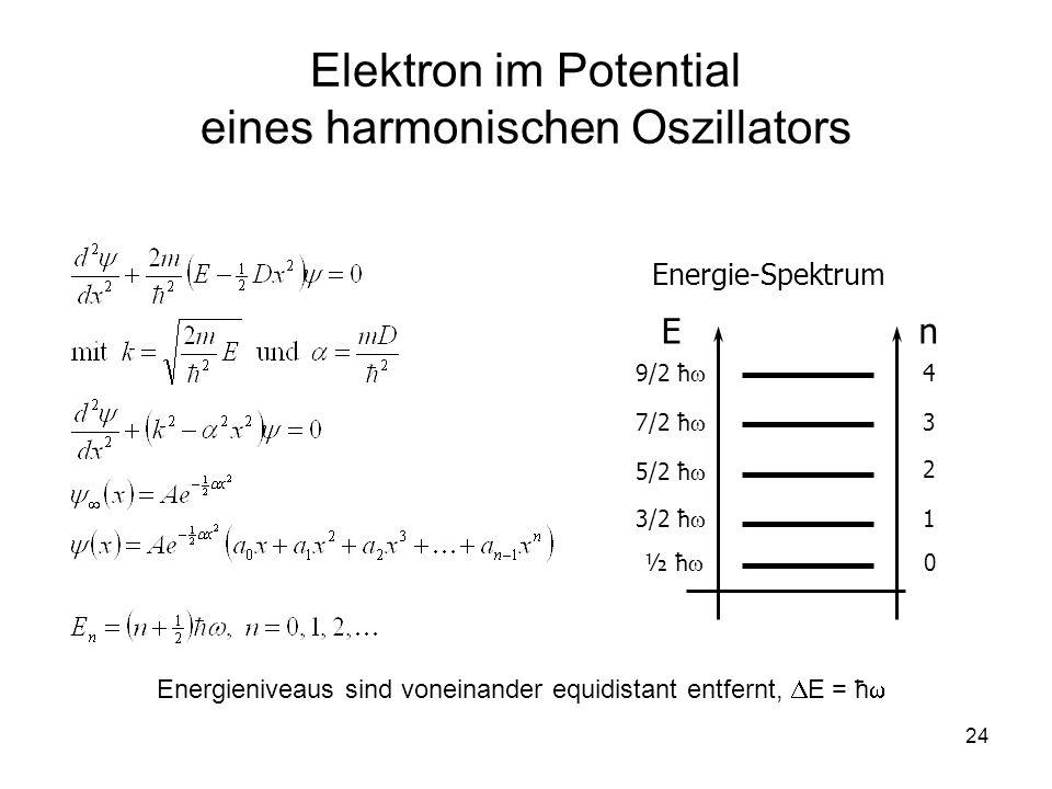 24 Elektron im Potential eines harmonischen Oszillators E Energie-Spektrum n 1 2 3 4 ½ ħ 0 3/2 ħ 5/2 ħ 7/2 ħ 9/2 ħ Energieniveaus sind voneinander equ