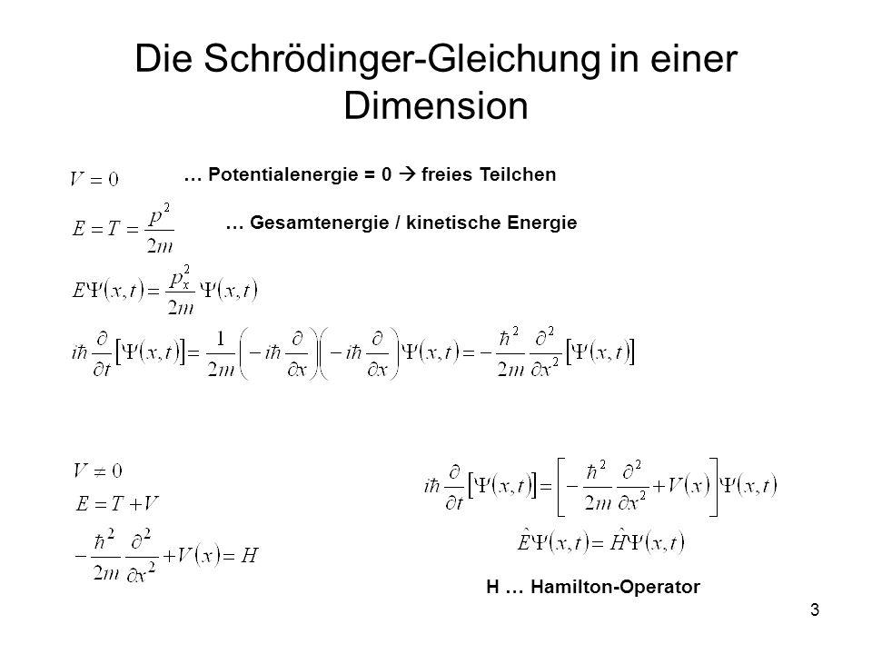 3 Die Schrödinger-Gleichung in einer Dimension … Potentialenergie = 0 freies Teilchen … Gesamtenergie / kinetische Energie H … Hamilton-Operator