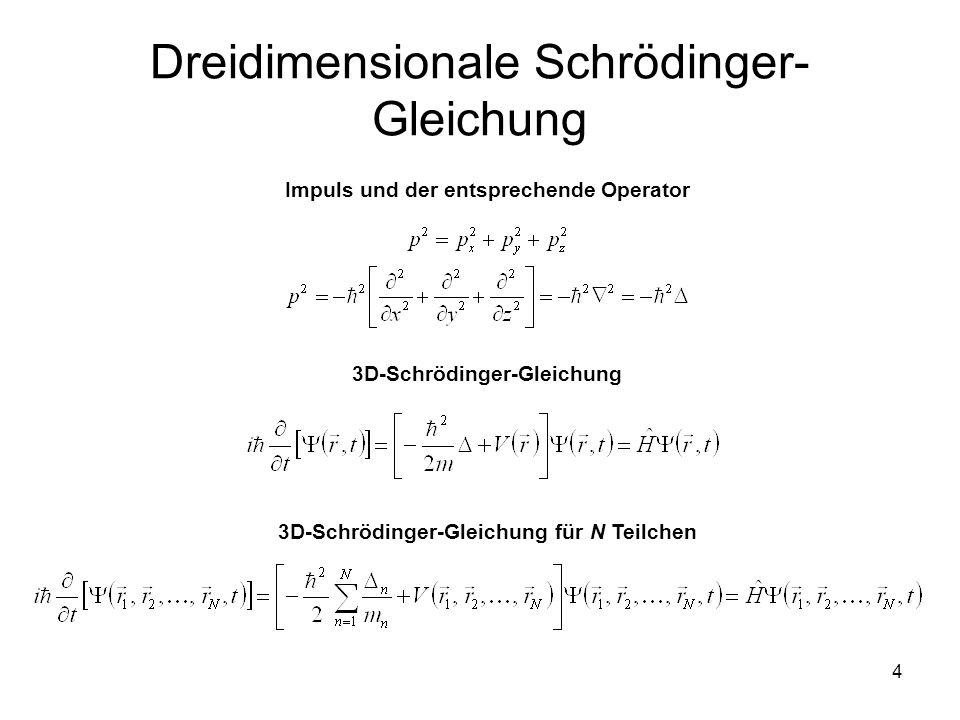 4 Dreidimensionale Schrödinger- Gleichung Impuls und der entsprechende Operator 3D-Schrödinger-Gleichung 3D-Schrödinger-Gleichung für N Teilchen