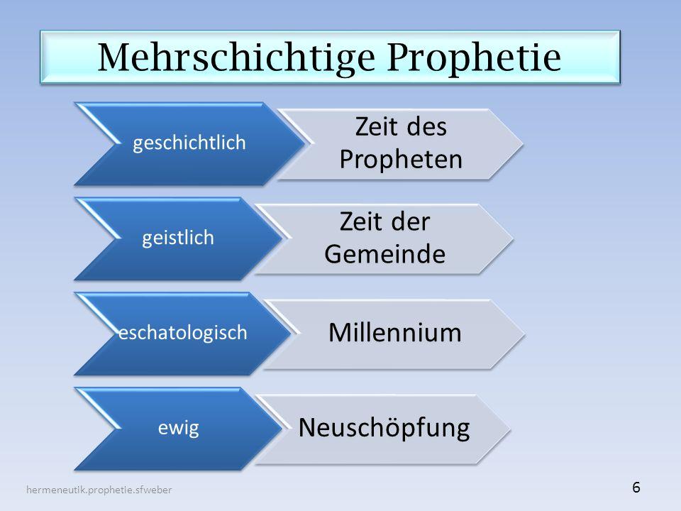 Mehrschichtige Prophetie hermeneutik.prophetie.sfweber 6 geschichtlich Zeit des Propheten geistlich Zeit der Gemeinde eschatologisch Millennium ewig Neuschöpfung