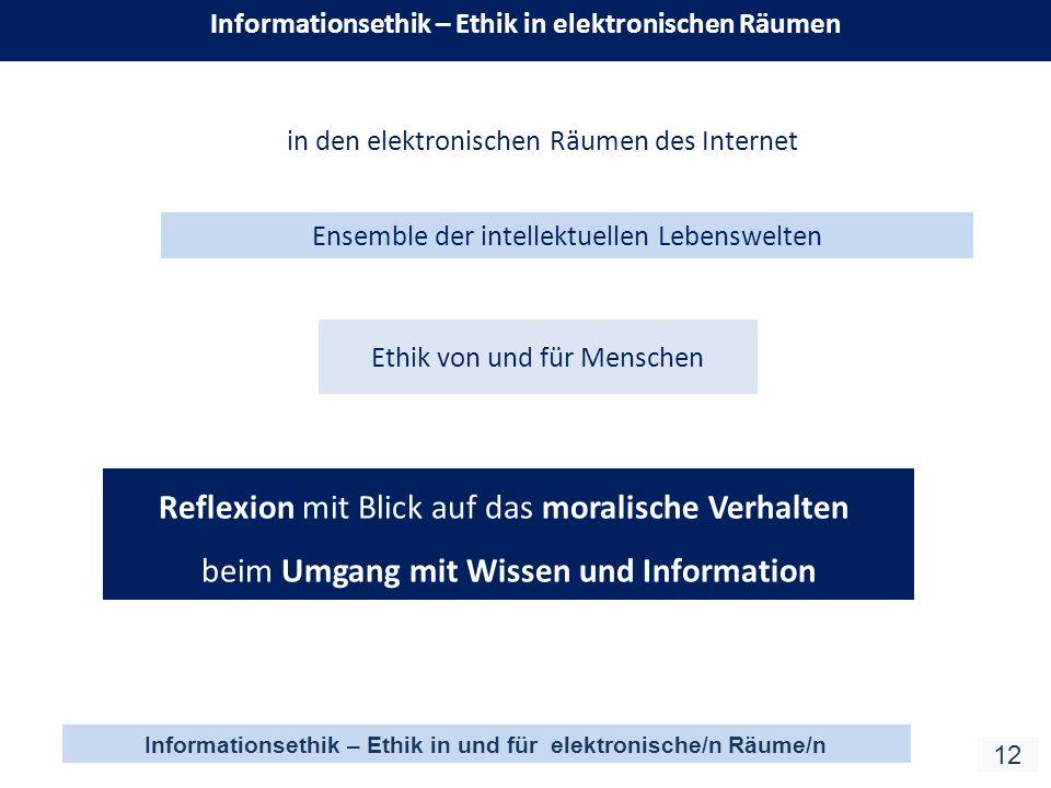 Informationsethik – Ethik in und für elektronische/n Räume/n 12 Informationsethik – Ethik in elektronischen Räumen Ethik von und für Menschen in den elektronischen Räumen des Internet Reflexion mit Blick auf das moralische Verhalten beim Umgang mit Wissen und Information Ensemble der intellektuellen Lebenswelten