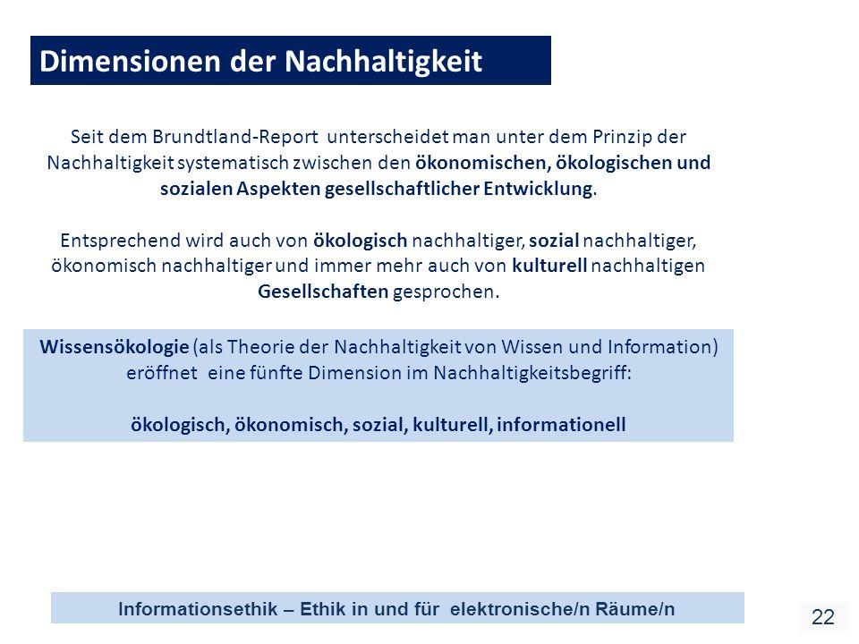 Informationsethik – Ethik in und für elektronische/n Räume/n 22 Dimensionen der Nachhaltigkeit Seit dem Brundtland-Report unterscheidet man unter dem Prinzip der Nachhaltigkeit systematisch zwischen den ökonomischen, ökologischen und sozialen Aspekten gesellschaftlicher Entwicklung.