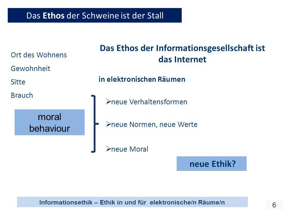 Informationsethik – Ethik in und für elektronische/n Räume/n 17 Verantwortung und Nachhaltigkeit auch entsprechend dem Prinzip der Sozialpflichtigkeit von Eigentum (Art 14,2 GG in D) Handeln unter den Prinzipien von Verantwortung und Nachhaltigkeit kann nicht mehr aus einer individualistischen Ethik begründet werden.