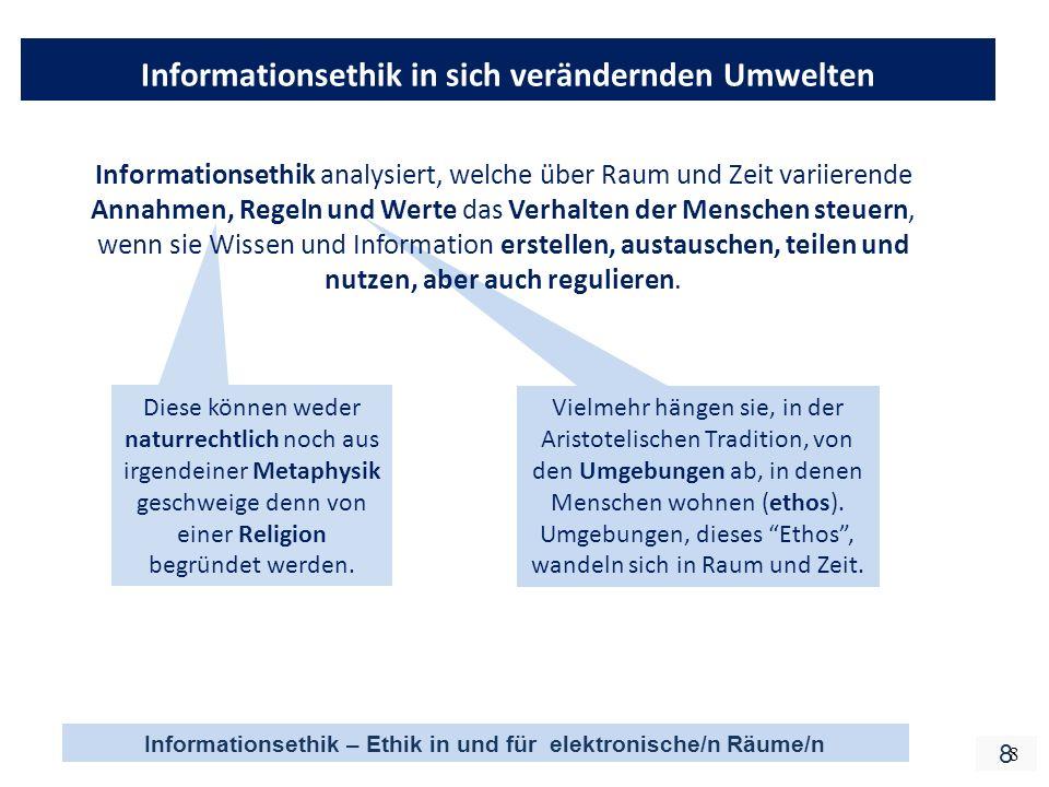 Informationsethik – Ethik in und für elektronische/n Räume/n 8 8 Informationsethik in sich verändernden Umwelten Diese können weder naturrechtlich noch aus irgendeiner Metaphysik geschweige denn von einer Religion begründet werden.