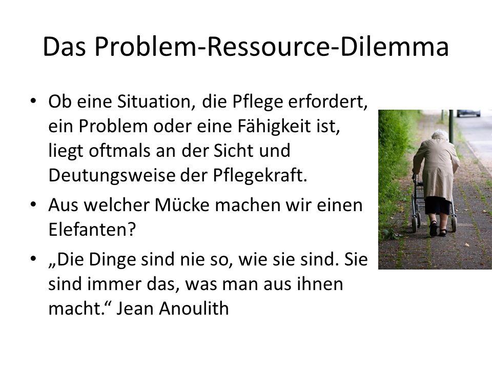 Das Problem-Ressource-Dilemma Ob eine Situation, die Pflege erfordert, ein Problem oder eine Fähigkeit ist, liegt oftmals an der Sicht und Deutungsweise der Pflegekraft.