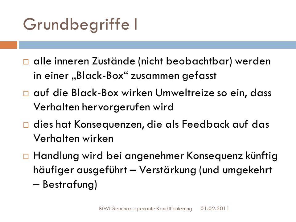 Grundbegriffe I 01.02.2011 BiWi-Seminar: operante Konditionierung alle inneren Zustände (nicht beobachtbar) werden in einer Black-Box zusammen gefasst