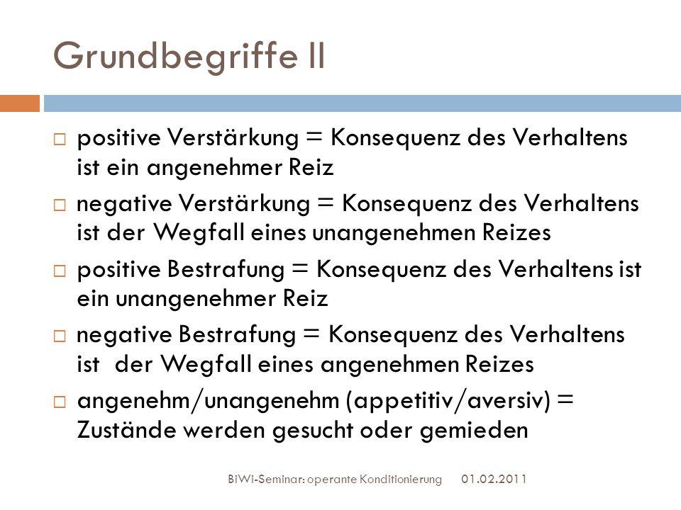 Grundbegriffe II 01.02.2011 BiWi-Seminar: operante Konditionierung positive Verstärkung = Konsequenz des Verhaltens ist ein angenehmer Reiz negative V