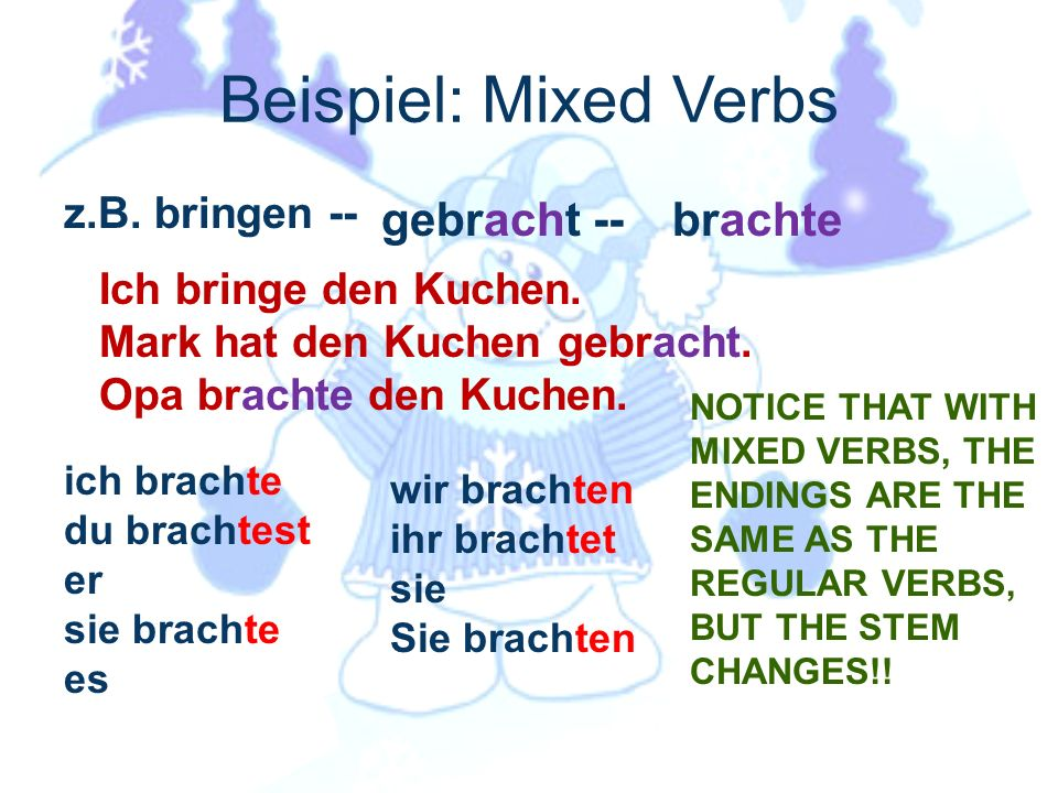 mixed verbs in the simple past: Many verbs undergo radical changes in the simple past Mixed verbs are frequently similar to their ge past participle f