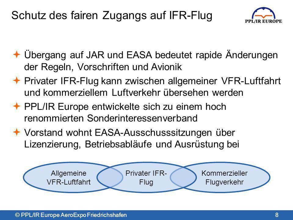 © PPL/IR Europe AeroExpo Friedrichshafen Erste Revision des IFR-Trainings seit JAR JAR-FCL verfolgte seit 1999 eine dualistische Trainingsstruktur –sämtliches IFR-Training wurde mit dem ATPL-Training vereint JAR-FCL gilt als Erfolg für das ATPL-Training, aber als Katastrophe für das private IR-Training –sehr wenige Privatpiloten (nur zweistellige Teilnehmerzahlen pro Jahr) absolvieren das Training –zahlreiche europäische Piloten stiegen auf FAA-Flugzeuge und Lizenzen um Revision begann Ende 2008 – FCL008 PPL/IR Europe Vorsitzender nahm an FCL008 als unabhängiger Experte teil Das Ergebnis ist die Änderungsverordnung 2011-16 9