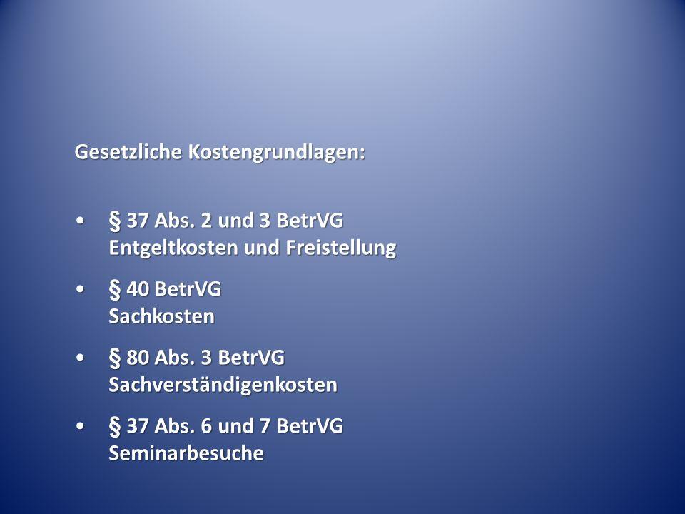 Gesetzliche Kostengrundlagen: § 37 Abs. 2 und 3 BetrVG Entgeltkosten und Freistellung§ 37 Abs. 2 und 3 BetrVG Entgeltkosten und Freistellung § 40 Betr