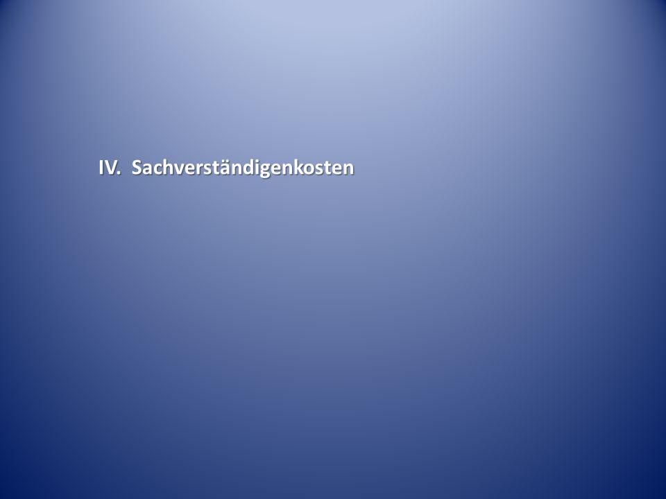 IV. Sachverständigenkosten