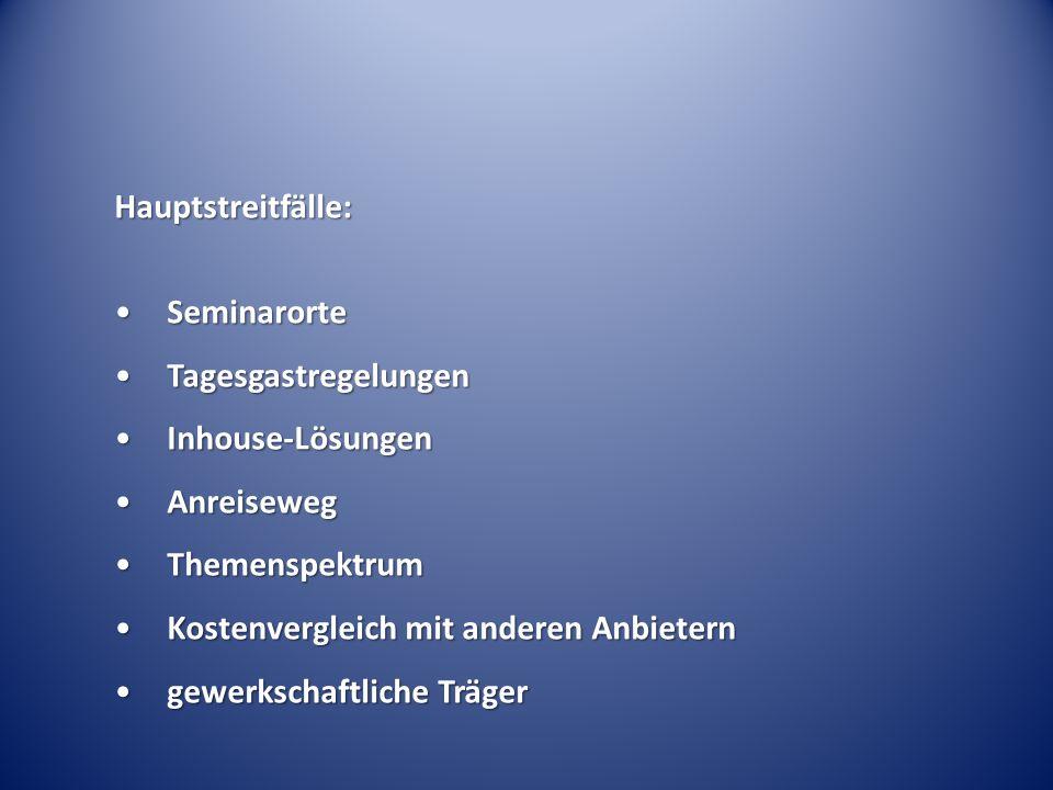 Hauptstreitfälle: SeminarorteSeminarorte TagesgastregelungenTagesgastregelungen Inhouse-LösungenInhouse-Lösungen AnreisewegAnreiseweg ThemenspektrumTh