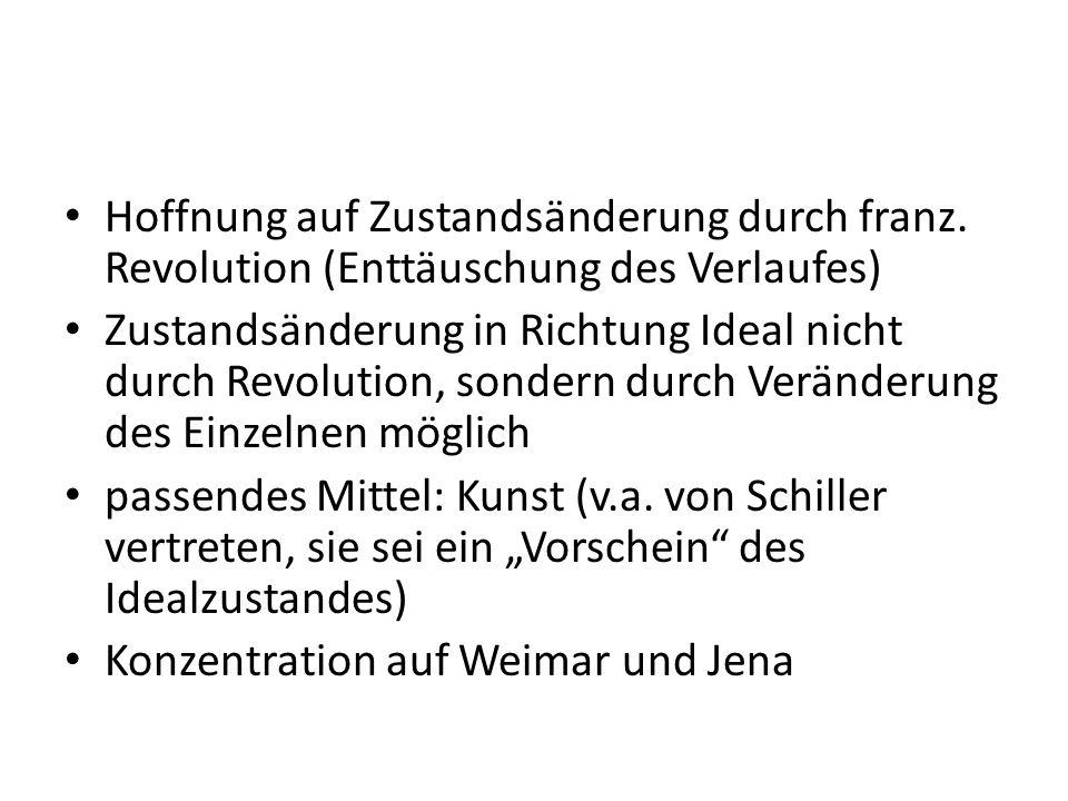 Hoffnung auf Zustandsänderung durch franz. Revolution (Enttäuschung des Verlaufes) Zustandsänderung in Richtung Ideal nicht durch Revolution, sondern