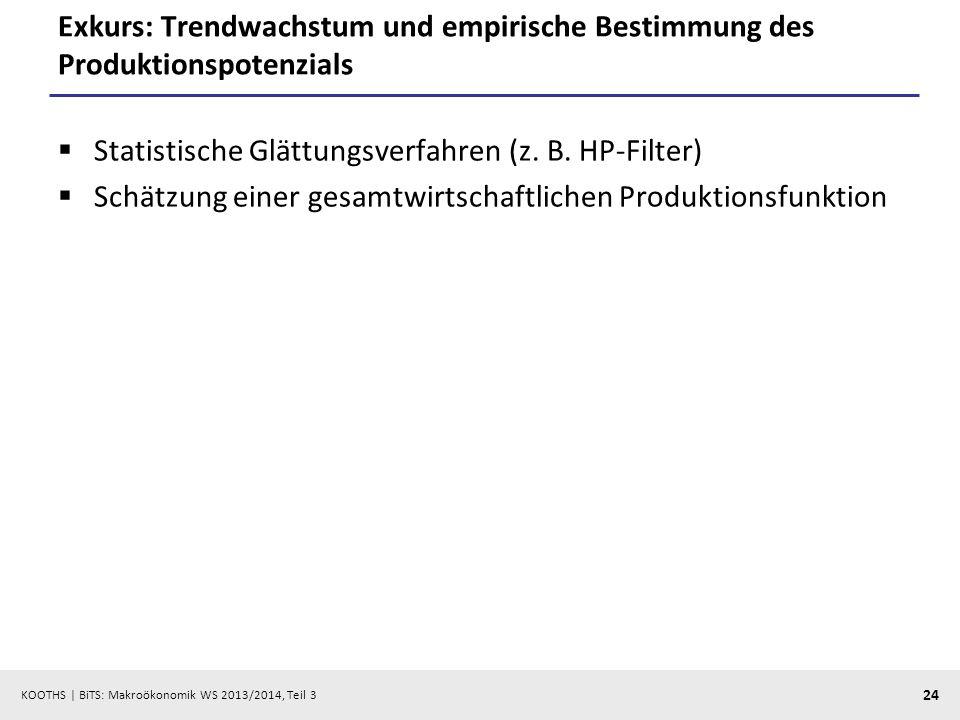 KOOTHS   BiTS: Makroökonomik WS 2013/2014, Teil 3 24 Exkurs: Trendwachstum und empirische Bestimmung des Produktionspotenzials Statistische Glättungsv