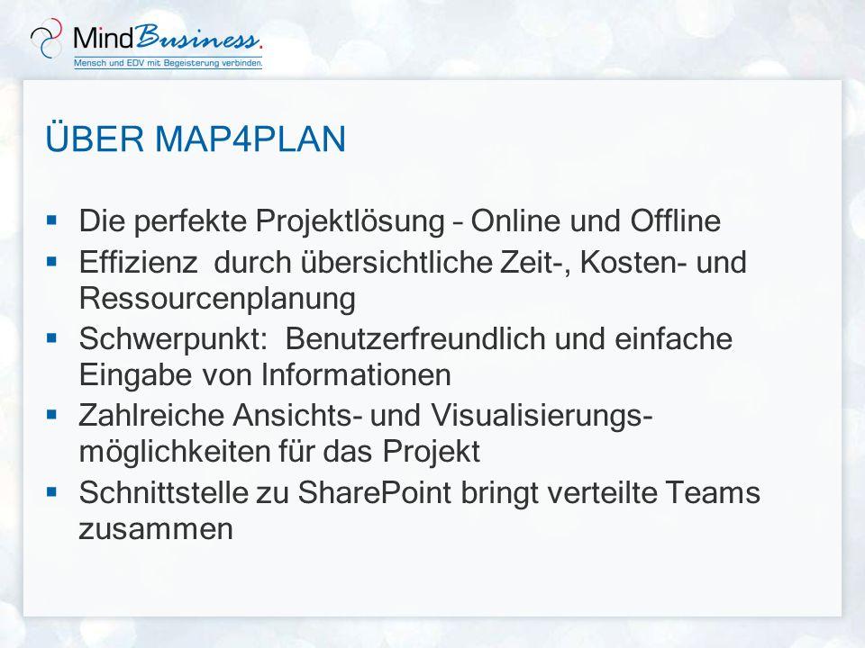 EINSATZGEBIETE MindBusiness Map4Plan unterstützt Sie und Ihr Team im Projekt- oder Prozessmanagement hervorragend bei der Entwicklung von: Projektplänen Prozessstrukturen/-abläufen Checklisten Aufgabenplänen Auslastungslisten Kostenübersichten Zuständigkeitslisten und Tätigkeitsübersichten Auswertungen