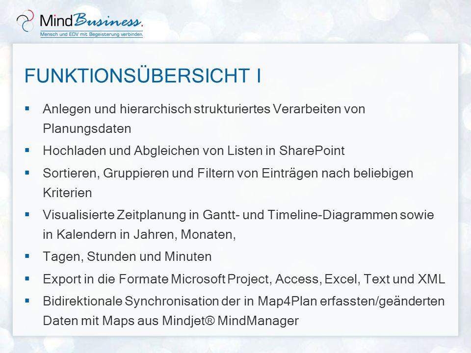 MAP4PLAN UND PROJECT MindBusiness Map4Plan ist ein Projektplanungstool für kleinere bis mittlere Projekte Es ist nicht als Wettbewerbsprodukt zu Microsoft Project zu verstehen Map4Plan ersetzt weder Project noch den Project Server - im Gegenteil: Map4Plan-Projektdaten können bei Bedarf problemlos in Project importiert werden!