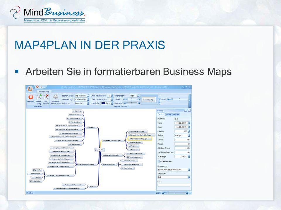 MAP4PLAN IN DER PRAXIS Arbeiten Sie in formatierbaren Business Maps