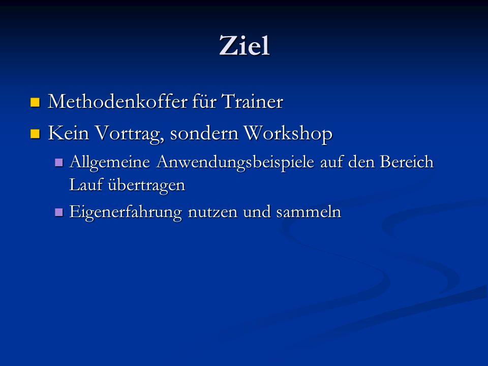 Ziel Methodenkoffer für Trainer Methodenkoffer für Trainer Kein Vortrag, sondern Workshop Kein Vortrag, sondern Workshop Allgemeine Anwendungsbeispiel