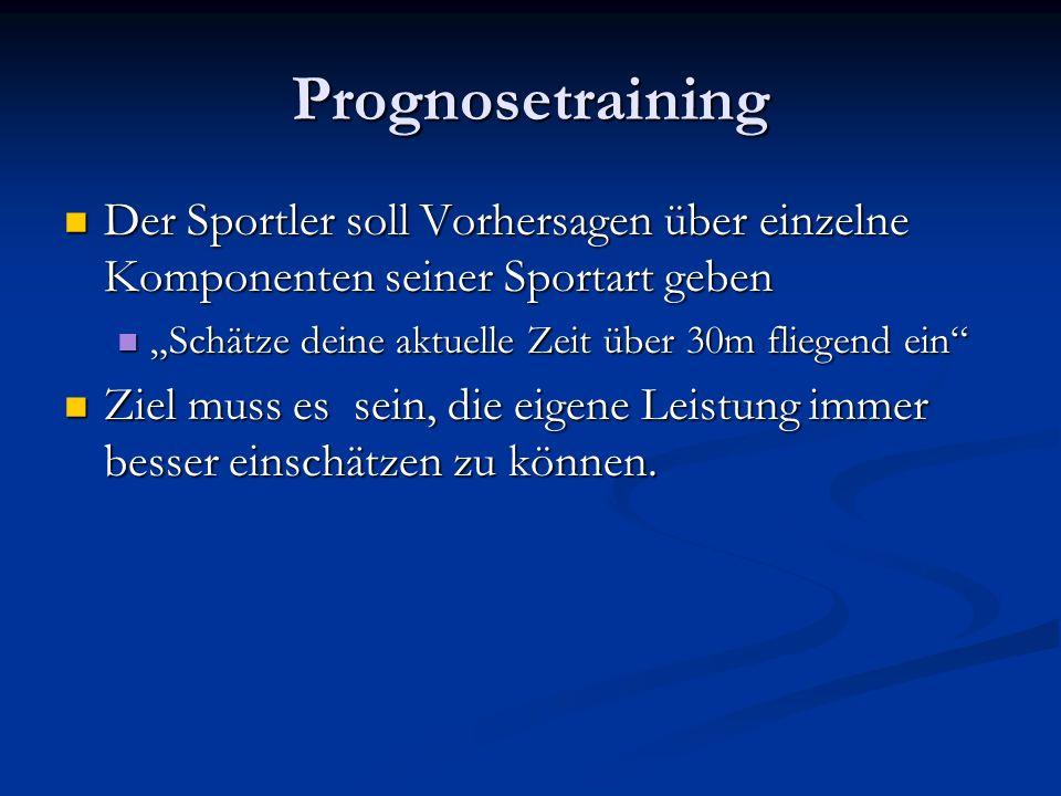 Prognosetraining Der Sportler soll Vorhersagen über einzelne Komponenten seiner Sportart geben Der Sportler soll Vorhersagen über einzelne Komponenten