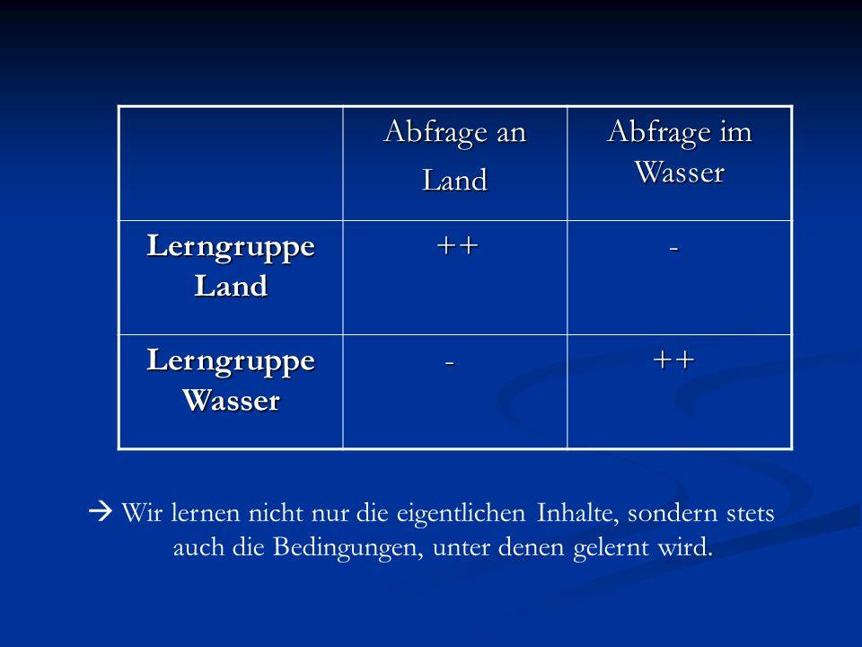 Abfrage an Land Abfrage im Wasser Lerngruppe Land ++ ++ - Lerngruppe Wasser - ++ ++ Wir lernen nicht nur die eigentlichen Inhalte, sondern stets auch