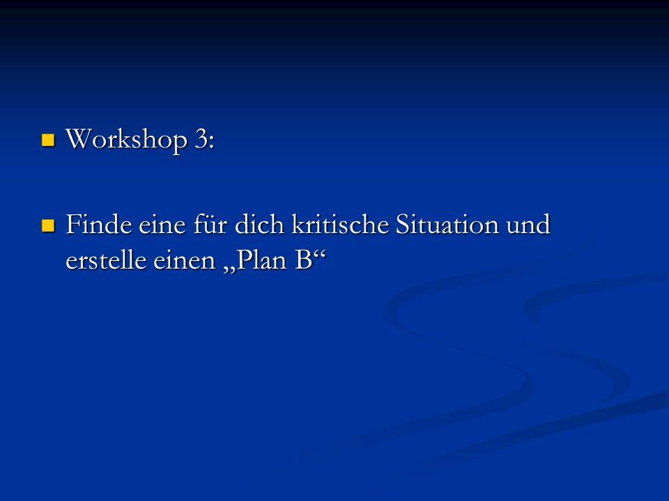 Workshop 3: Workshop 3: Finde eine für dich kritische Situation und erstelle einen Plan B Finde eine für dich kritische Situation und erstelle einen P