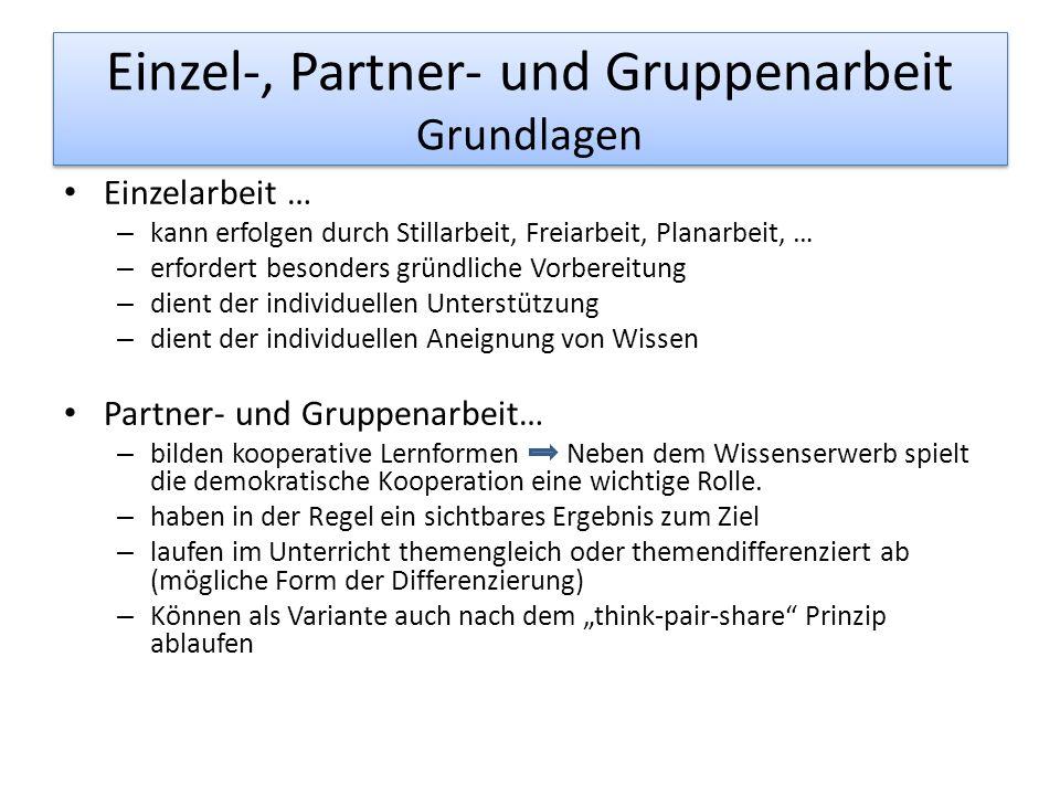 Einzel-, Partner- und Gruppenarbeit Aufgabe 1.Wählen Sie eine Sozialform aus und notieren Sie Vor- und Nachteile für den Unterricht.