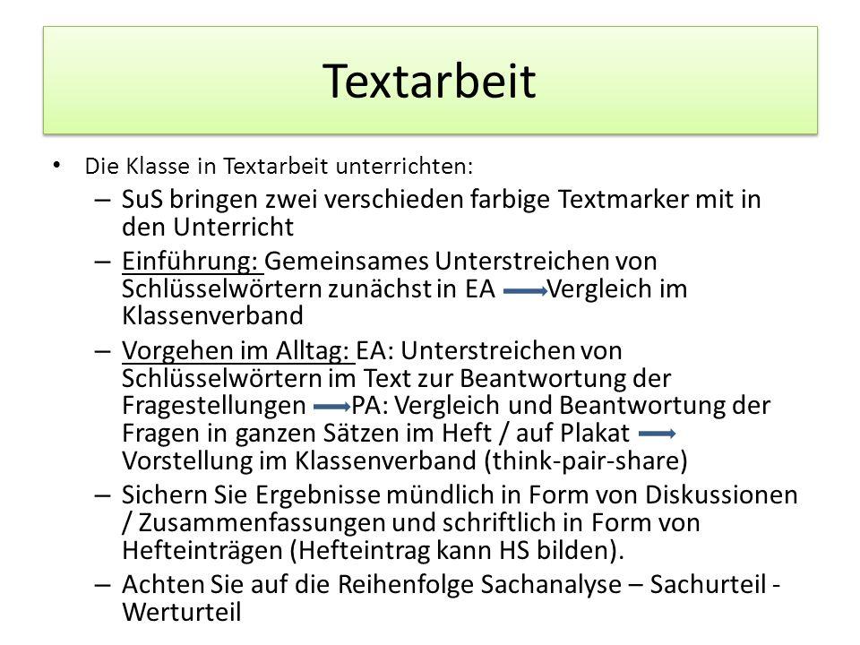 Textarbeit Die Klasse in Textarbeit unterrichten: – SuS bringen zwei verschieden farbige Textmarker mit in den Unterricht – Einführung: Gemeinsames Un