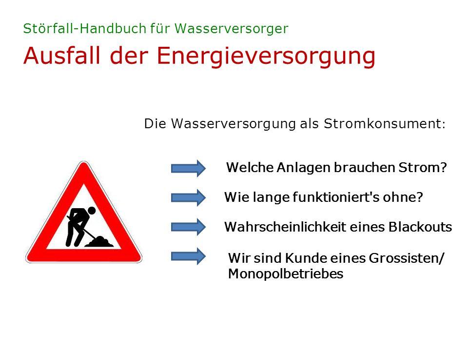 Ausfall der Energieversorgung Störfall-Handbuch für Wasserversorger Eintretens-Wahrscheinlichkeit gering, Folgen jedoch dramatisch.